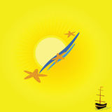 Background beach with boat vector. Illustration Stock Photography