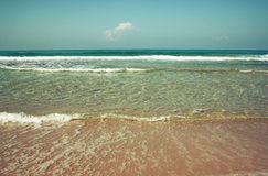 Background beach and sea waves , vintage filter. Stock Photography
