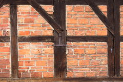 Background of beams and bricks exterior building Stock Photo