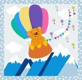 Background bear by a cloud balloon Royalty Free Stock Images