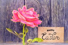 Happy Easter! - card. Background,beautiful,blossom,bouquet,card,celebration,colorful,day,floral,flower,gift,greeting,happy,happy easter,love,message,nature,note royalty free stock photography