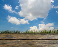 Background of beautiful blue sky and wooden deck Royalty Free Stock Image