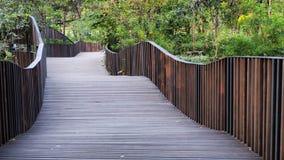 Wooden pathway in the garden Stock Image