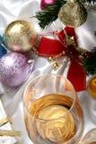 background beautiful christmas glass white wine στοκ φωτογραφία