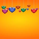 Background beautiful multicolored hearts on orange paper. Eps10 Stock Image