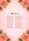 Background with beautiful pastel roses Royalty Free Stock Photos