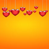 Background beautiful red heart on orange paper. Eps10 Royalty Free Stock Photo