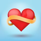 Background beautiful red heart and ribbon. Vector. Stock Images