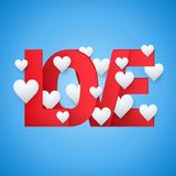 Background beautiful red text LOVE and white royalty free illustration