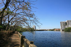 Background: beautiful riverside landscape. In Bangkok, Thailand Stock Photos