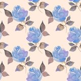 Background with beautiful roses. Seamless pattern with flowers 61. Hand drawn floral watercolor pattern Royalty Free Stock Photography