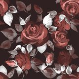 Background with beautiful roses 14. Seamless pattern with hand-drawn flowers Stock Photo