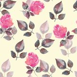 Background with beautiful roses. Seamless pattern with hand-drawn flowers. Hand drawn watercolor floral pattern Royalty Free Stock Photo