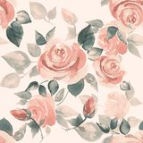Background with beautiful roses 5. Seamless pattern with hand-drawn watercolor flowers Stock Images