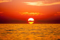 Background of beautiful sunset over Mediterranean sea waves. Sel Royalty Free Stock Images