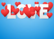 Background beautiful white text LOVE and red vector illustration