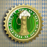 Background with beer cap. Cap for beer bottles on the background of the Bavarian ornament Royalty Free Stock Photos