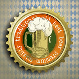 Background with beer cap. Cap for beer bottles on the background of the Bavarian ornament Stock Image