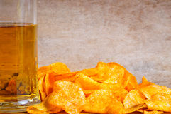 Background with beer and chips Stock Image