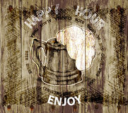 Background beer happy hour-enjoy and the word beer in different languages.vector illustration Royalty Free Stock Photo