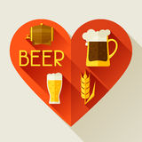 Background with beer icons and objects in flat Royalty Free Stock Image