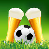 Background with Beer and Soccer Ball Royalty Free Stock Image