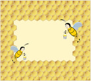 Background with bees. Background with a sweet honey bees and bee honeycombs royalty free illustration
