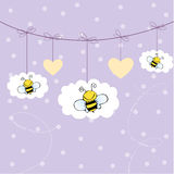 Background with bees Stock Photography