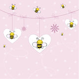 Background with bees. Cute pink background with bees Royalty Free Stock Photo
