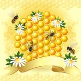 Background with bees Royalty Free Stock Photos