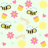 Background with bees and honey. Seamless background with bees and honey Royalty Free Stock Image