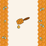 Background with bees on the honeycomb. Honey label Stock Images