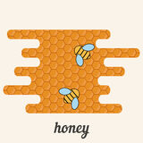 Background with bees on the honeycomb. Honey label Royalty Free Stock Photo