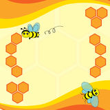 Background with bees and honeycomb Stock Photo