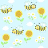Background with bees, sunflowers and camomiles Stock Photography