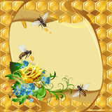 Background with bees and yellow rose Royalty Free Stock Photo