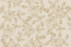 Background beige flowers roses pattern seamless Royalty Free Stock Photography