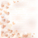 Background with beige hearts Stock Photo