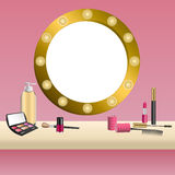 Background beige mirror pink cosmetics make up lipstick mascara eye shadows nail polish frame illustration. Vector Royalty Free Stock Photos