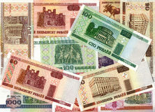 Background of Belarusian ruble banknotes. Colorful background of old and present Belarusian ruble bank notes stock photo