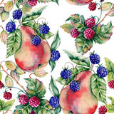 Background of berries raspberries, blackberries, gooseberries and pears. Seamless pattern. Stock Photography