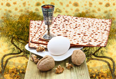 Background with biblical motifs of holy hills of Jerusalem and Passover traditional Passover food Royalty Free Stock Photos