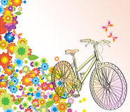 Background with bicycle and beautiful flowers. Illustration Royalty Free Stock Image