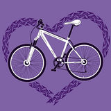 Background with bicycle and heart made of tire tra Royalty Free Stock Images