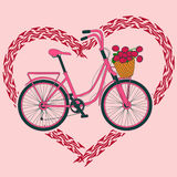 Background with bicycle and heart made of tire track. Background with pink bicycle and heart made of tire track Stock Photography