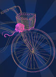 Background with bicycle and rose Stock Photography