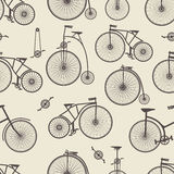 Background bicycle seamless. Repeating pattern in vintage retro style vector illustration