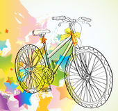 Background with bicycle and stars. Illustration Stock Image