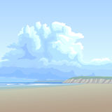 Background big cloud over the sandy coast. Royalty Free Stock Photography