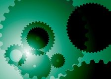 Background with big and small gears green color. Vector picture of abstract background with big and small gears green color stock illustration